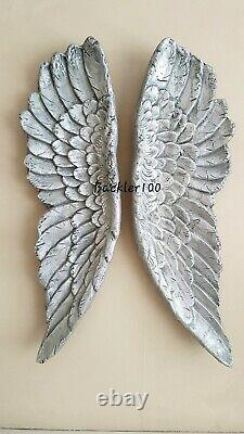 Large pair of ANGEL WINGS aged silver finish ornate wall hanging 60cm Gift