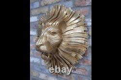 Lion Head Wall Mount Hang Ornament Sculpture Animal Statue Art Home Decor Gift