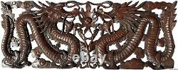 Lucky Chinese Dragon Wood Carved Wall Panel. Asian Home Decor. 35.5x13.5