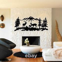Metal Deer Family Decor, Nature Wall Art, Metal Tree Decor Metal Wall Decor 5275