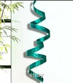 Metal Ribbon Sculpture Modern Teal 3d Wall Art Sculpture Unique Metal Decor