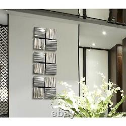 Metal Wall Art Set of 3 Square Decor, Contemporary Silver Wall Art Decor