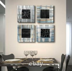 Metal Wall Art Unique Squares Black & Silver Etched Modern, Abstract Decor