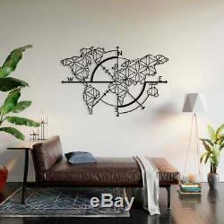 Metal World Map Compass, Metal Wall Decor, Art Work, World Map Wall Art