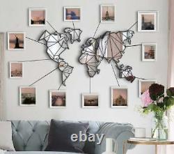 Mirror World Map Metal Wall Art, Mirror Metal World Map Wall Panel, Home Decor