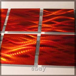 Modern Abstract Metal Wall Art Red Orange Painting Sculpture Home Decor Flame