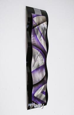 Modern Abstract Metal Wall Sculpture Art Black & Purple Painting Home Decor New