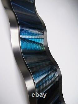 Modern Abstract Metal Wall Sculpture Art Blue Tropical Painting Home Decor New
