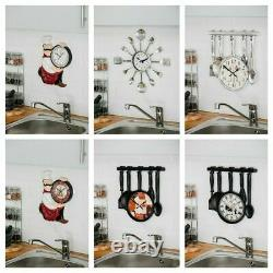 Modern Cutlery Fork Kitchen Tableware Wall Analogue Clock Home Decoration Round