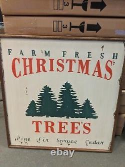 NIB Pottery Barn Farm Fresh Christmas Trees wood wall art sign wooden