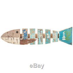 Nautical Painted Fish Wood Wall Sculpture Beach Ocean Sea coastal Wall Decor