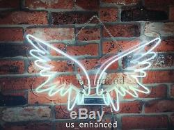 New Angel Wings Wall Home Decor Handcrafted Real Glass Gift Neon Sign 17x13