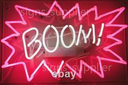 New BOOM! Neon Sign Acrylic Gift Light Lamp Bar Wall Room Decor 15x10
