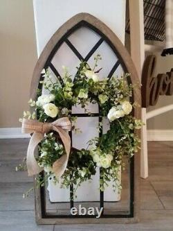 New Cathedral Window Frame with Wreath/Rustic Wall Decor