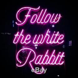 New Follow The White Rabbit Pink Wall Decor Acrylic Neon Light Sign 24x20