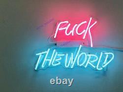 New Fvck The World Neon Sign Acrylic Gift Light Lamp Bar Wall Room Decor 14x10