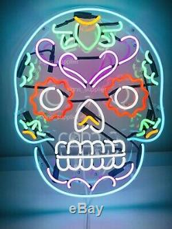 New Haunted Skull Acrylic Neon Sign Gift Light Lamp Wall Room Decor With Dimmer