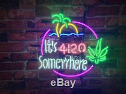 New It's 420 Somewhere High Life Marijuana Leaf Neon Lamp Homeroom Wall Decor17