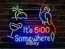 New It's 5 00 Somewhere Parrot Neon Light Sign 20x16 Wall Decor Palm Tree Beer