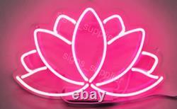 New Lotus Flower Wall Decor Artwork Real Glass Acrylic Neon Light Sign 14x10