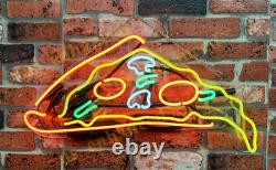 New Pizza Slice Neon Sign Acrylic Gift Light Lamp Bar Wall Room Decor 17x10