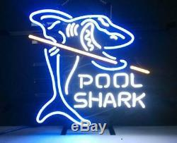 New Pool Shark Billiards Neon Light Sign 17x14 Wall Decor Man Cave Bar Beer