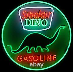 New Sinclair Dino Gasoline Gas Oil Neon Light Lamp Sign 24x24 Decor Wall Glass