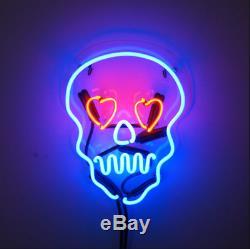 New Skull Love Pub Wall Decor Acrylic Neon Light Sign 14