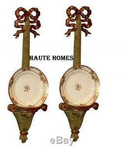 New Victorian Ornate Gold Bows Acanthus Wall Plate Holder Shelf Decor Set/ 2