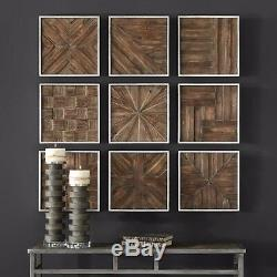 Nine Bryndle Restoration Aged Rustic Wood Wall Panels Framed Wall Art Uttermost