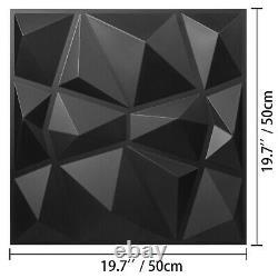 PVC Wall Panels 3D Diamond Design 13 Tiles Black Decorative Plants WaterProof