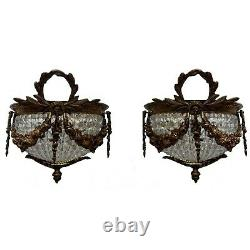 Pair Ornate French Empire Wall Sconces Crystal Bead Chains Bronze Lights Decor