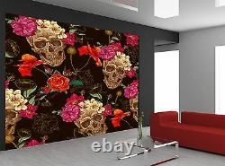 Photo Wallpaper Skull with Roses GIANT WALL DECOR PAPER POSTER FOR BEDROOM