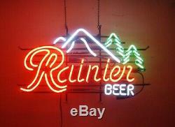 Rainier Beer Mountain Jokul Tree Neon Light Sign 20x16 Beer Wall Decor Glass