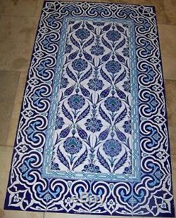 Raised Iznik Blue Floral Pattern 32x56 Turkish Ceramic Tile MURAL PANEL