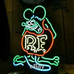 Rat Fink RF Neon Sign 20x16 Light Lamp Beer Bar Pub Wall Decor Real Glass