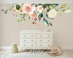 Rose Peach Flower Branch Nursery Wall Sticker Home Decor Girls Kids Art Decal