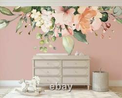Rose Peach Flower Nursery Wall Sticker Home Decor Girls Kids Decal Art DIY Mural