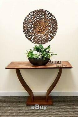 Round Wood Carved Floral Wall Art. Decorative Asian Wood Wall Plaque. Brown 24