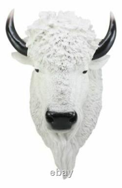 Sacred Lightning Large White Buffalo Wall Decor 18 Tall Faux Buffalo Bison Head
