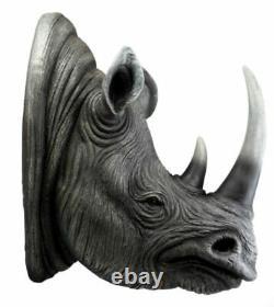 Safari Black Rhino Wall Plaque 14.5H Taxidermy Rhinoceros Wall Decor Sculpture