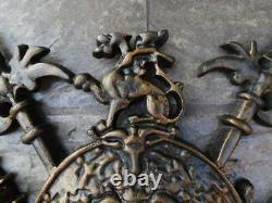 Shield, Medieval Castle Wall Decor, Old World, Metal Art, Fleur de Lis Sword NEW