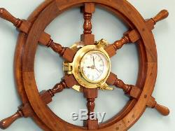 Ship's Steering Wheel 24 with Brass Porthole Clock Wooden Nautical Wall Decor New