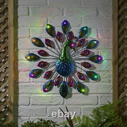 Solar Power Peacock 12 LED Decorative Garden Ornament Light Wall Art Plaque