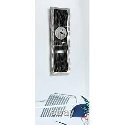 Statements2000 Modern Metal Wall Art Clock Abstract Black Silver Decor Jon Allen