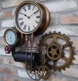 Steampunk Clock Industrial Pipe Wall Hanging Large Rustic Cogs Decor Timepiece