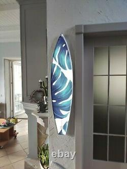 Surfboard Wall Art, Surfers gift, Tropical, Monstera, Bar Decor, Beach Decor