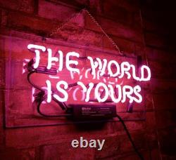 THE WORLD IS YOURS Neon Sign Gift Artwork Display Pink Decor Club Wall