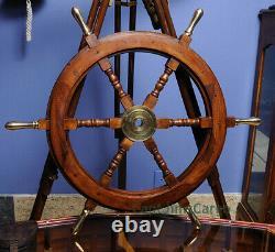 Teak Wood Ships Steering Wheel 30 Brass Handles & Hub Nautical Boat Wall Decor