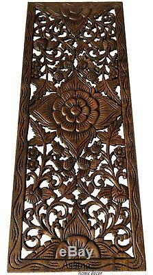 Tropical Wood Carved Wall Decor Panel. Floral Wood Wall Art. 35.5x13.5